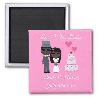 Ethnic Bride & Groom Sunglasses Summer Wedding Square Magnet