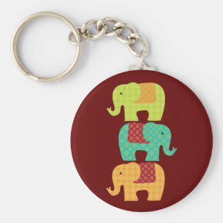 Ethnic Elephants with Flowers on Maroon Red Basic Round Button Key Ring