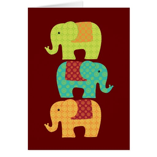 Ethnic Elephants with Flowers on Maroon Red Cards