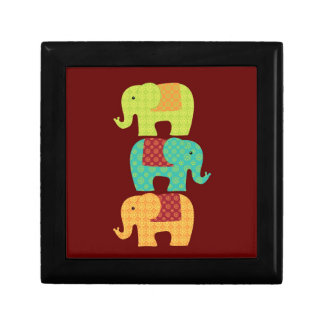 Ethnic Elephants with Flowers on Maroon Red Gift Box