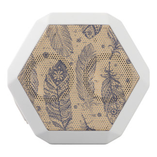Ethnic Feather Outline Pattern White Boombot Rex Bluetooth Speaker