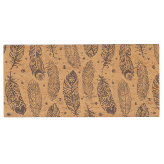Ethnic Feather Outline Pattern Wood USB 2.0 Flash Drive