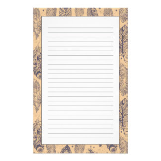 Ethnic Feather Outline Pattern Stationery