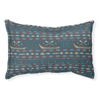 Ethnic Fishing Pattern Pet Bed