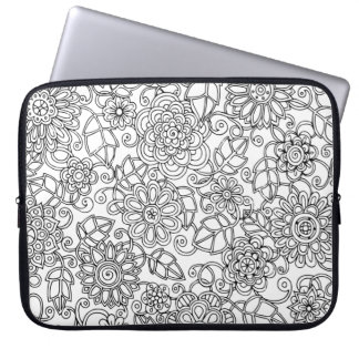 Ethnic Floral Doodle Laptop Sleeve