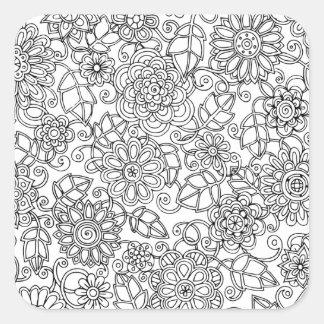 Ethnic Floral Doodle Square Sticker