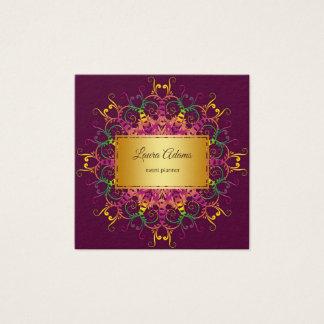 Ethnic floral mandala.Golden frame. Square Business Card