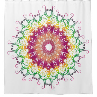 Ethnic floral mandala. shower curtain