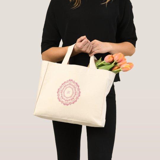 Ethnic floral pink mandala. Monogram. Mini Tote Bag