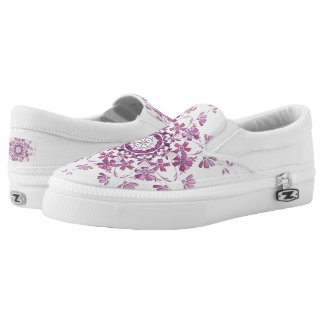ethnic floral pink mandala. Slip-On shoes