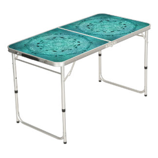 Ethnic floral turquoise grunge mandala beer pong table