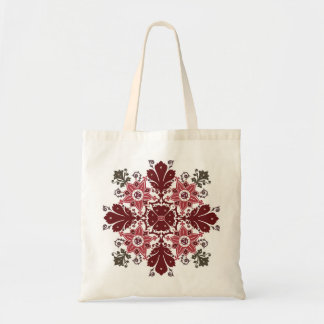 Ethnic flowers bouquet round ornament tote bag