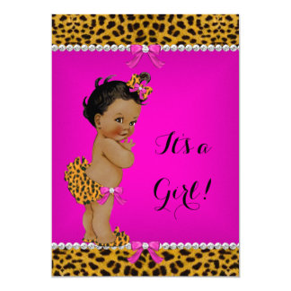 Ethnic Girl Baby Shower Leopard Hot Pink 13 Cm X 18 Cm Invitation Card