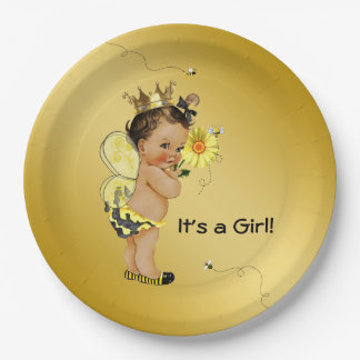 Ethnic Girl Bee Baby Shower Paper Plate