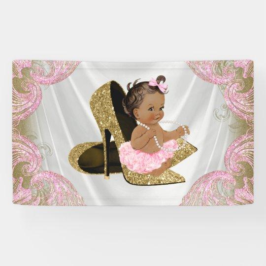 Ethnic Girl Gold High Heel Shoe Baby Shower
