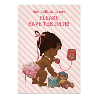 Ethnic Girl On Phone Diagonal Stripe Save The Date 9 Cm X 13 Cm Invitation Card