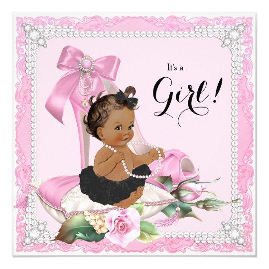 Ethnic Girl Pearl High Heel Shoe Baby Shower