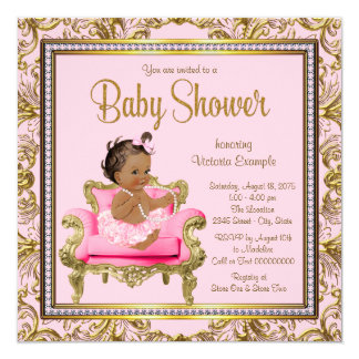 Ethnic Girl Pink Gold Chair Tutu Baby Shower 13 Cm X 13 Cm Square Invitation Card