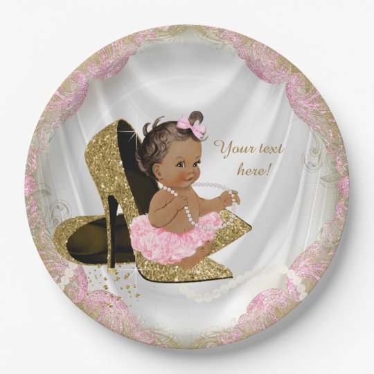 Ethnic Girl Pink Gold High Heel Baby Shower