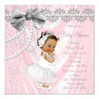 Ethnic Girl Pink Grey Satin Pearl Baby Shower Card