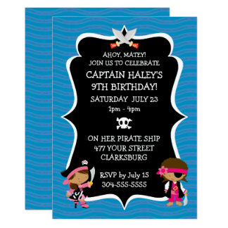 Ethnic Girl Pirate Birthday Party Card