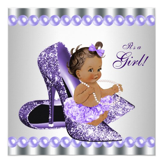 Ethnic Girl Purple Grey High Heel Shoe Baby