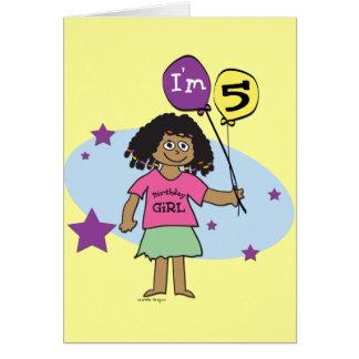 Ethnic Girls I m 5 5th Birthday Greeting Card