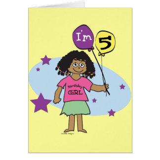 5 years old greeting cards zazzle ethnic girls i39m 5 5th birthday card bookmarktalkfo Images