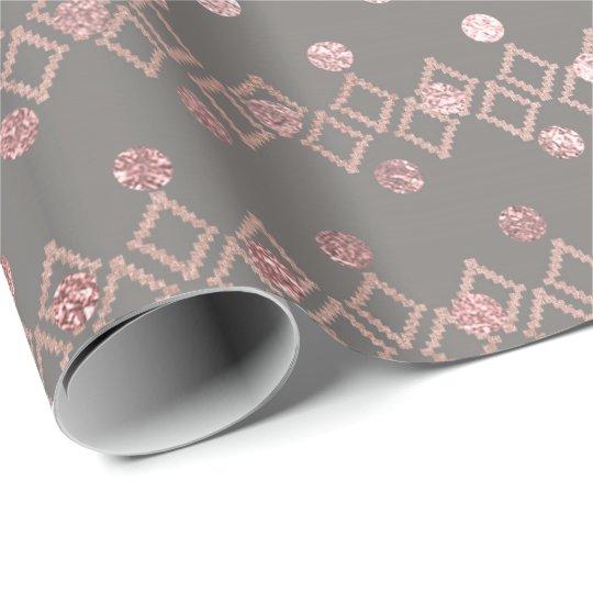 Ethnic Gray Pink Blush Glitter Dots Stripes Square