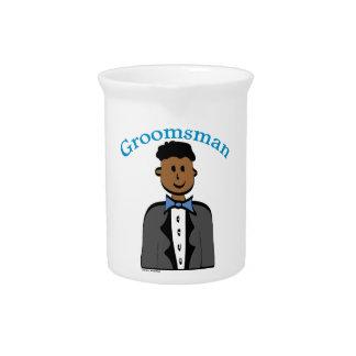 Ethnic Groomsman Pitcher