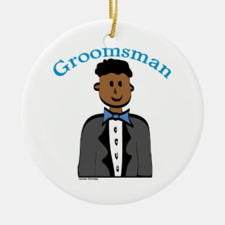 Ethnic Groomsman Round Ceramic Decoration