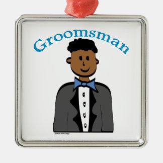 Ethnic Groomsman Silver-Colored Square Decoration