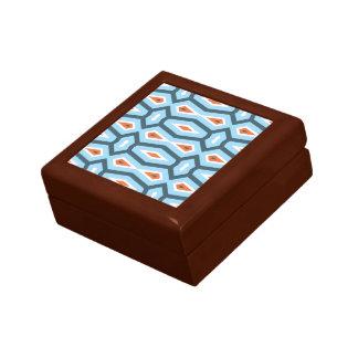 Ethnic hexagon pattern blue orange trinket box