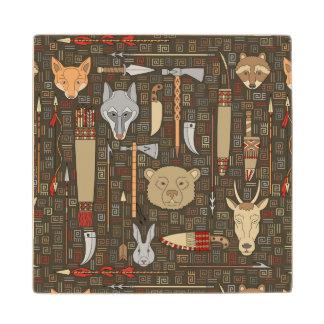 Ethnic Hunting Pattern Wood Coaster