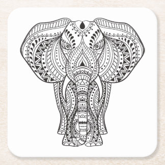 Ethnic Indian Elephant Square Paper Coaster