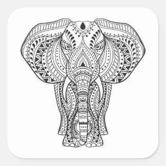 Ethnic Indian Elephant Square Sticker