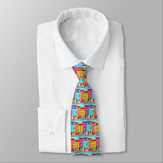 Ethnic Italian Vacation Artistic Painting Boho Tie