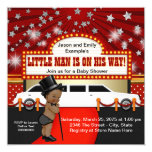 Ethnic Little Man Limousine Movie Star Baby Shower 13 Cm X 13 Cm Square Invitation Card