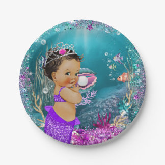 Ethnic Little Mermaid Baby Paper Plates
