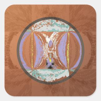 Ethnic Look in Rust Tones Square Sticker