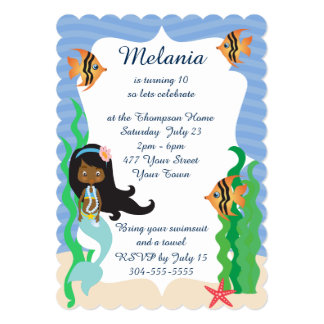 Ethnic Mermaid Birthday Pool Party 5x7 Paper Invitation Card