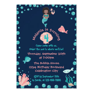 Ethnic Mermaid with Seahorse | 4th Birthday Party Card