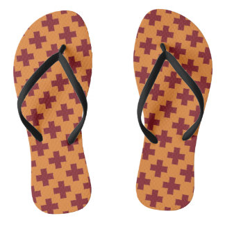 Ethnic Native Southwestern Cross Symbol Flip Flops