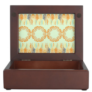 Ethnic orange pattern memory box