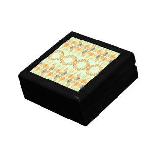 Ethnic orange pattern small square gift box
