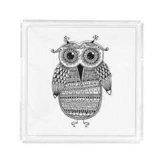 Ethnic Owl Ink Drawing Acrylic Tray