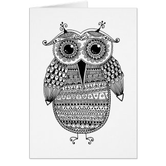 Ethnic Owl Ink Drawing Card