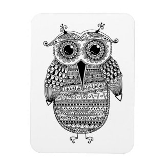 Ethnic Owl Ink Drawing Magnet