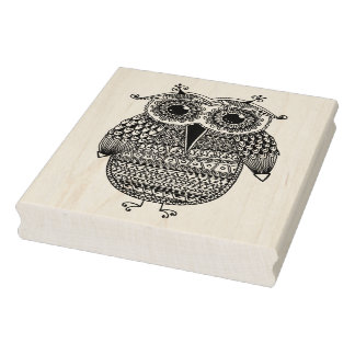 Ethnic Owl Ink Drawing Rubber Stamp