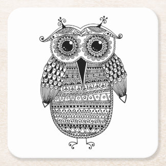 Ethnic Owl Ink Drawing Square Paper Coaster